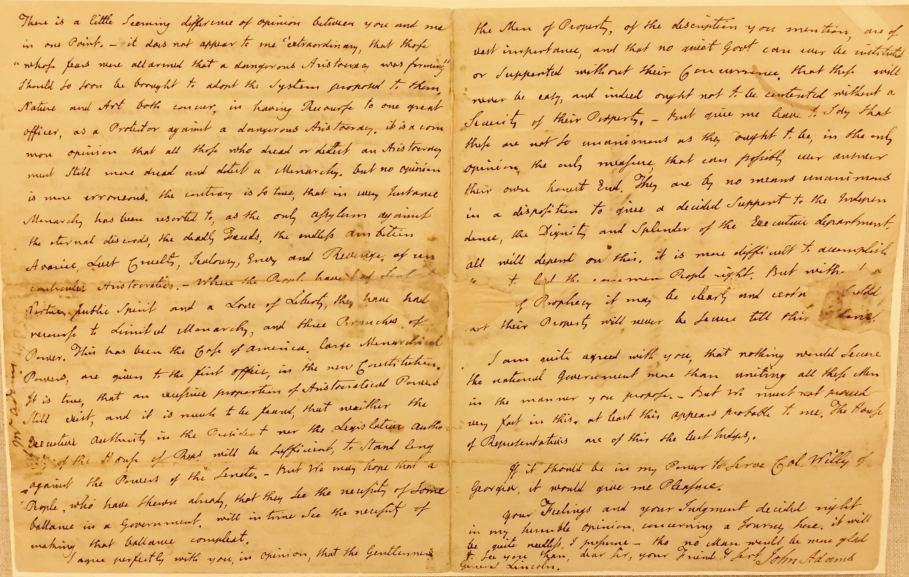 John Adams letter to Benjamin Lincoln