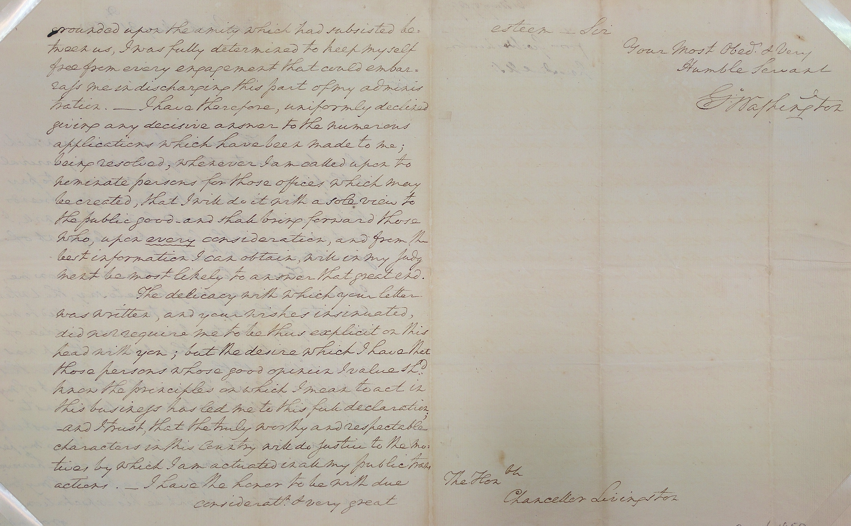 Washington Livingston letter